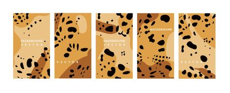 Vector set design animal print templates backgrounds - social media story wallpapers. Can be used like banners, posters, cover design templates. Leopard pattern 向量圖像