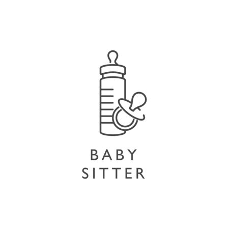 Vector design element and icon in linear style - baby sitter. Sign of baby nipple and baby bottle.  イラスト・ベクター素材