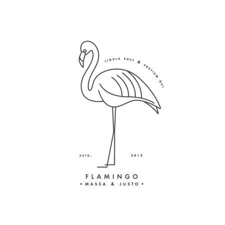 Vector linear  design flamingo bird on white background. Flamingo emblems or badges