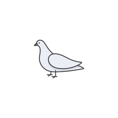 Vector linear icon design dove bird on white background. Pigeon colorful emblems or badges