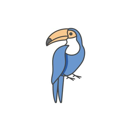 Vector linear icon design toucan bird on white background. Toucan colorful emblems or badges Çizim