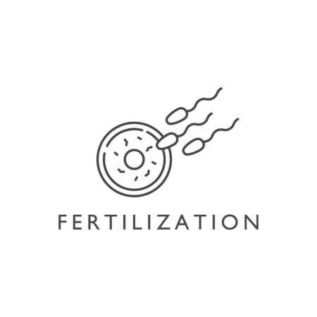 Vector design element and icon in linear style - pregnancy and fertilization. Иллюстрация