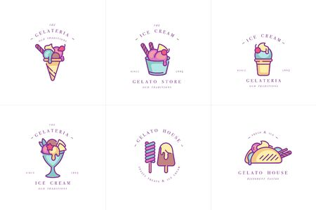Vector set design colorful templates and emblems - ice cream and gelato. Difference ice cream icons. trendy linear style isolated on white background