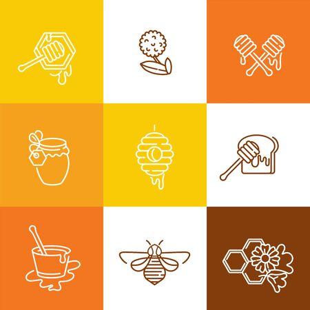 Vector conjunto de plantillas de ilustración y diseño o insignias. Etiquetas de miel orgánica y ecológica y etiquetas con abejas. Estilo lineal
