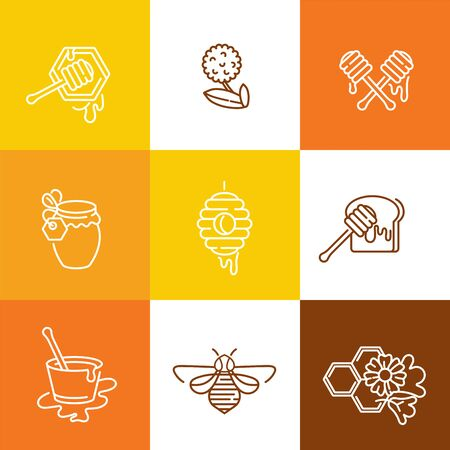 Vector set illustration and design templates or badges. Organic and eco honey labels and tags with bees. Linear style