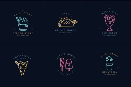 Vector set design colorful templates and emblems - ice cream and gelato. Difference ice cream icons. Neon colors