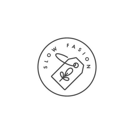 insignia o icono para la fabricación ecológica - slow fasion. Diseño de señal ecológica segura. Símbolo de producción natural certificada de ropa. Ilustración de vector