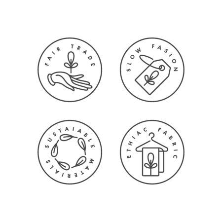 Vector conjunto de insignias e iconos para fabricación ecológica y productos orgánicos. Diseño de señal ecológica segura. Símbolo de colección de producción natural certificada de ropa