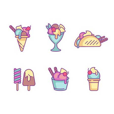 Vector set design colorful templates emblems - ice cream and gelato. Difference ice cream icons. trendy linear style isolated on white background