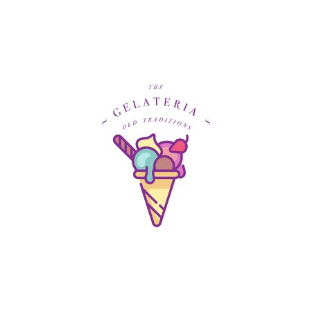 Vector design colorful template  or emblem - ice cream, gelato. Ice cream icon.  trendy linear style isolated on white background