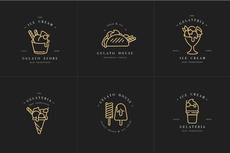 Vector set design golden templates  and emblems - ice cream and gelato. Difference ice cream icons.  trendy linear style isolated on white background