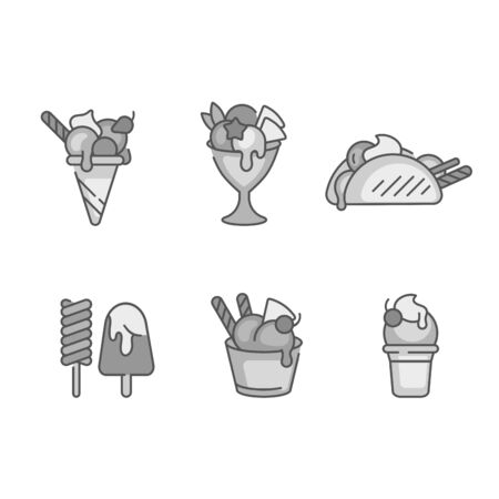 Vector set design colorful templates and emblems - ice cream and gelato. Difference ice cream icons. trendy linear style isolated on white background Stock Illustratie