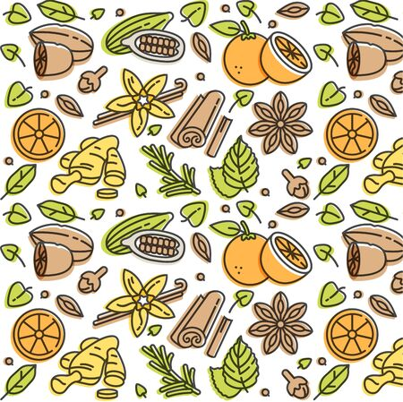 Vector linear illustration of mulled wine spices and ingredients. Different spices-cinnamon stick, clove and citrus slice. Pattern