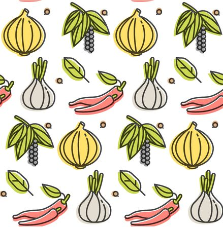 Vector pattern with herbs and spices. Different spices and ingredients icons. Repeating abstract background