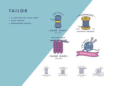 Handgemachte bunte Linie Logos Set. Handgefertigte lineare Abzeichen oder handgefertigte Umrissetiketten. Strick- und Nähsymbole. Vektor-Illustration