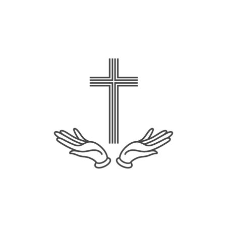Vector illustration of Christianity symbol of Jesus Christ- cross with hands. Religion