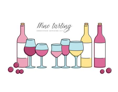Vector concept of wine tasting for bar or restaurant. Different types of glasses and bottles of wine