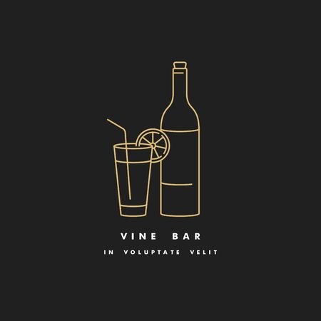 Vector linear illustration of bottle of wine with glass. Wine bar sign. Golden color