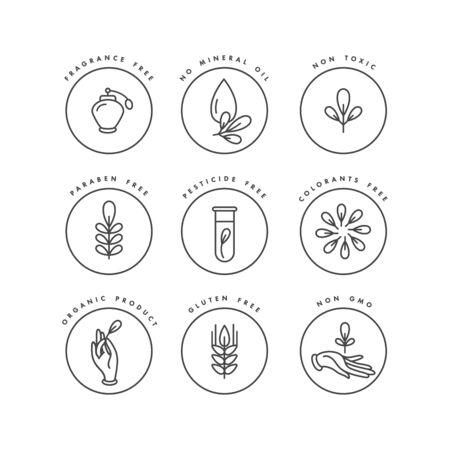Ensemble de vecteurs de badges et d'icônes pour les produits naturels et biologiques. Conception de signe éco-sûr. Symbole de collection de produits sains