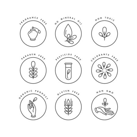 Vektorset von Abzeichen und Symbolen für Natur- und Bioprodukte. Öko sicheres Zeichendesign. Sammlungssymbol für gesunde Produkte