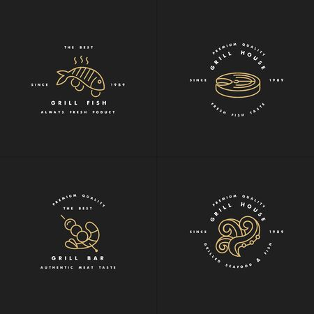 Vector set of golden design and templates for grill house. Fish meat emblems or badges of steak, octopus. shrimp
