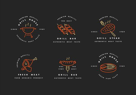 Vector set of golden with red design and templates for grill house. Meat emblems or badges of steak, sausage. fish and other types of meat