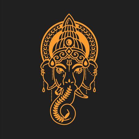 Vector linear illustration of indian god religion symbol elephant Ganesh. Golden color