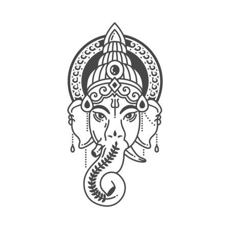 Vector linear illustration of indian god religion symbol elephant Ganesh on white background