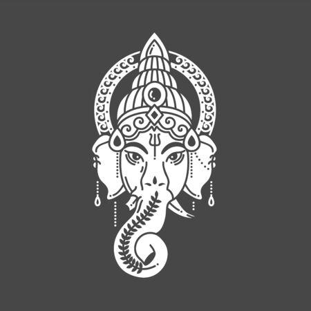 Vector linear illustration of indian god religion symbol elephant Ganesh on grey background