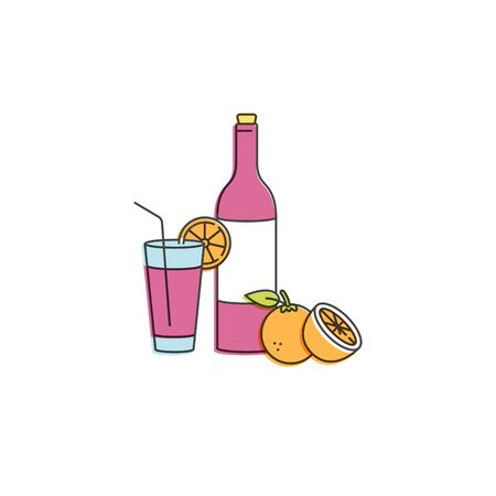 Vector linear illustration of sangria wine with glass and ingredients. Orange fruit with citrus slice. Isolated on white background. Traditional spanish drink Illustration