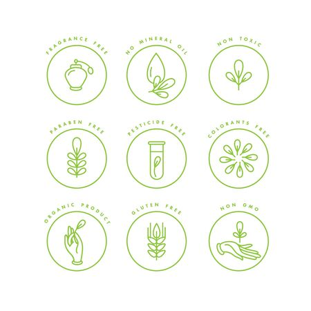 Vector set of badges and icons for natural and organic products. Eco safe sign design. Collection symbol of healthy products Vektorové ilustrace