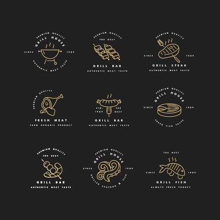 Vector set of golden design and templates for grill house. Meat emblems or badges of steak, sausage. fish and other types of meat