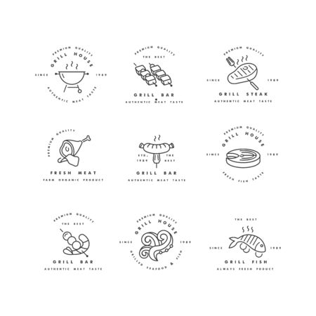 Vector set of design and templates for grill house. Meat emblems or badges of steak, sausage. fish and other types of meat