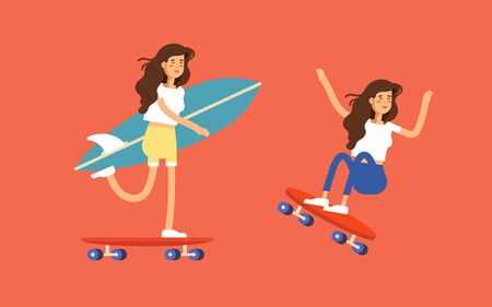 Vector illustration of a girl skateboarder riding a skateboard and holding surfboard.