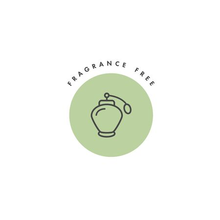 Vector badge and icon for natural and organic products. Fragrance free sign design. Symbol of healthy product