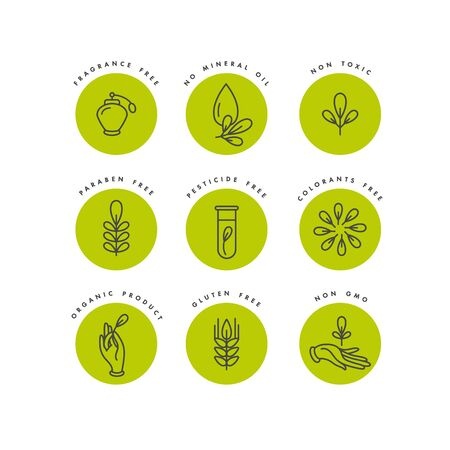 Insieme di vettore di distintivi e icone per prodotti naturali e biologici. Design del segno ecologico. Simbolo di collezione di prodotti sani