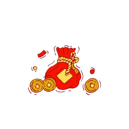 Red bag and Chinese gold coin graphic vector. Chinese and wealthy symbol