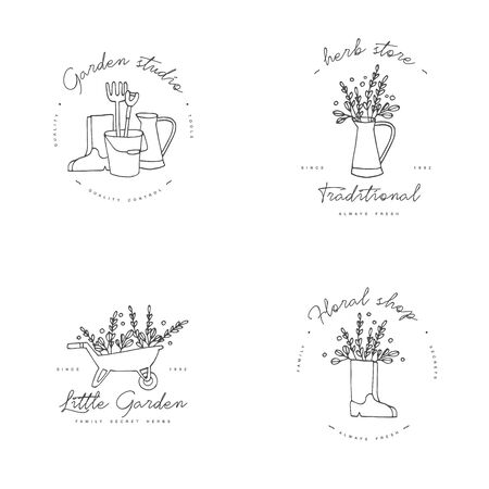 Vector set of badges and icons for farmers and garden tools flowers shop. Collection symbol of gardening