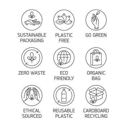 Vector set of badges and icons for natural and organic products. Eco safe sign design. Collection symbol for zero waste and reusable packaging