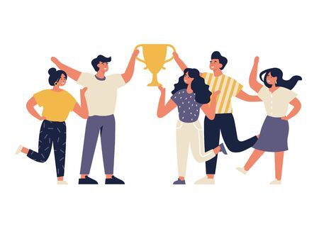 Vector illustration group of young joyful people with champion cup isolated on white background. Successful team celebrating victory and rejoicing together