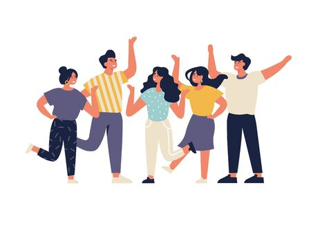 Vector illustration young people having great time. Positive emotions concept. Group of characters enjoying themselves and celebrating