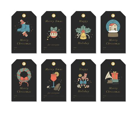 Vector linear design Christmas greetings elements on black background. Christmas tags set with typography and colorful icon