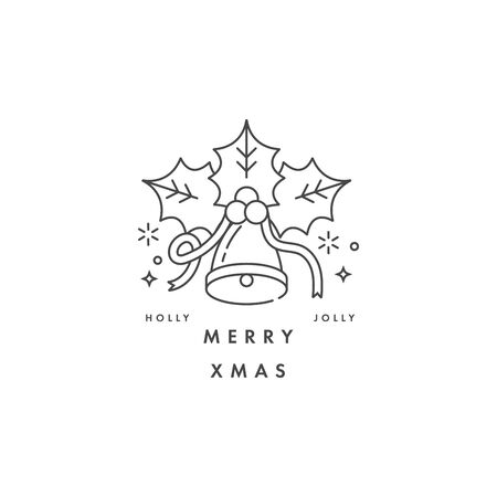 Lovely Merry Xmas concept linear design with christmas bell. Greeting typography compositions Xmas cards, banners or posters and other printables