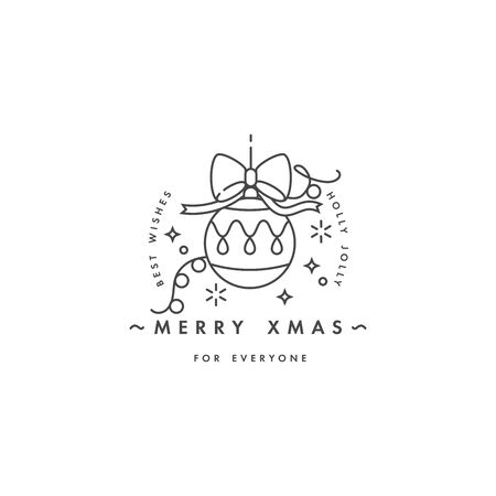 Lovely Merry Xmas concept linear design with christmas ball. Greeting typography compositions Xmas cards, banners or posters and other printables
