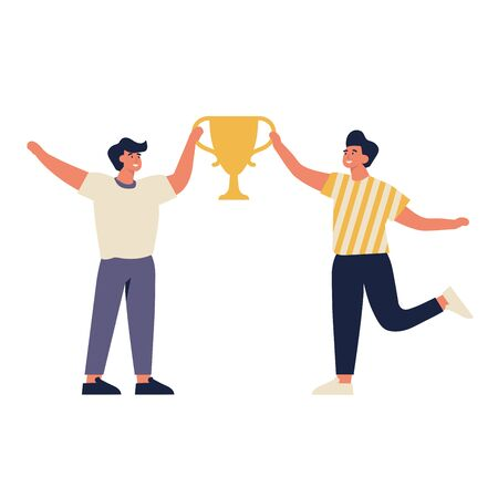 Vector illustration young joyful men with champion cup isolated on white background. Successful team celebrating victory and rejoicing together Çizim