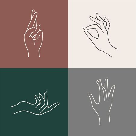 Vector design linear template symbols or emblems - hands in in different gestures Çizim