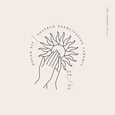 Vector design linear template or emblem - hands folded in prayer with sun sign. Abstract symbol for cosmetics and packaging or beauty products