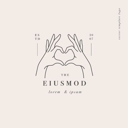 Vector design linear template or emblem - hands showing heart sign. Abstract symbol for cosmetics and packaging or beauty products