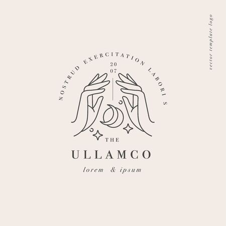 Vector design linear template  or emblem - hands folded in prayer with sun and moon sign. Abstract symbol for cosmetics and packaging or beauty products