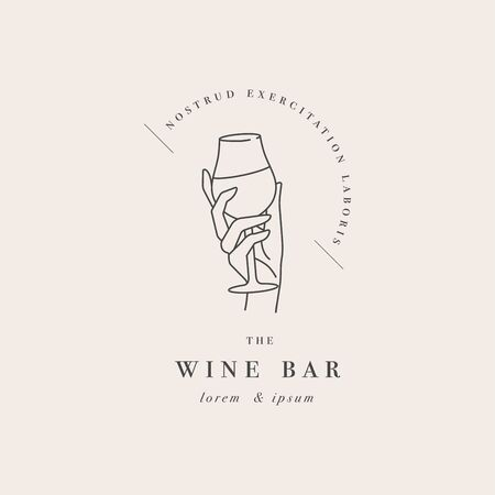 Vector design linear template or emblem - female hand holding glass of wine. Abstract symbol for wine bar or sommelier courses Çizim